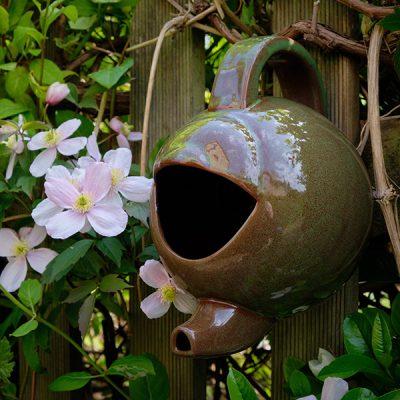 Green Ceramic Teapot Bird Nester_2