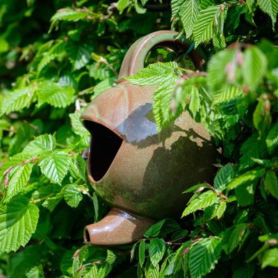 Green Ceramic Teapot Bird Nester_4