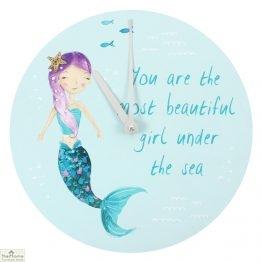 Mermaid Children's Round Wall Clock
