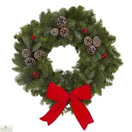 Traditional Red Real Christmas Wreath 35cm