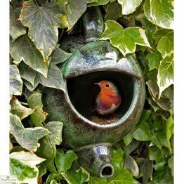 Green Ceramic Teapot Bird Nester_1
