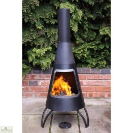 Large Conical Steel Chimenea Stainless Steel_1