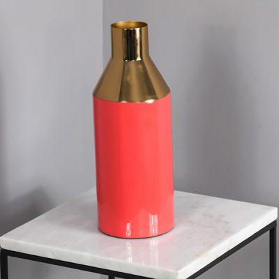 Enamel Gold Stem Coral Vase_2