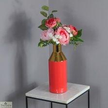 Enamel Gold Stem Coral Vase