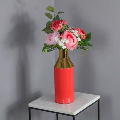 Enamel Gold Stem Coral Vase_1
