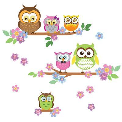 Owl Flower Tree Wall Sticker_3