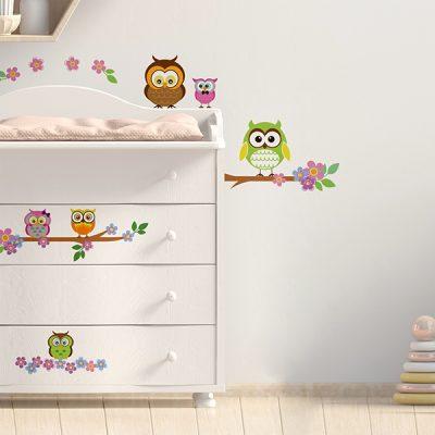Owl Flower Tree Wall Sticker_2