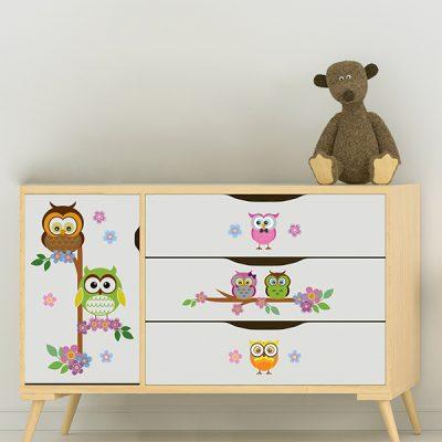 Owl Flower Tree Wall Sticker_1