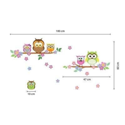 Owl Flower Tree Wall Sticker_4