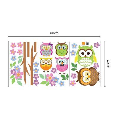 Owl Flower Tree Wall Sticker_5