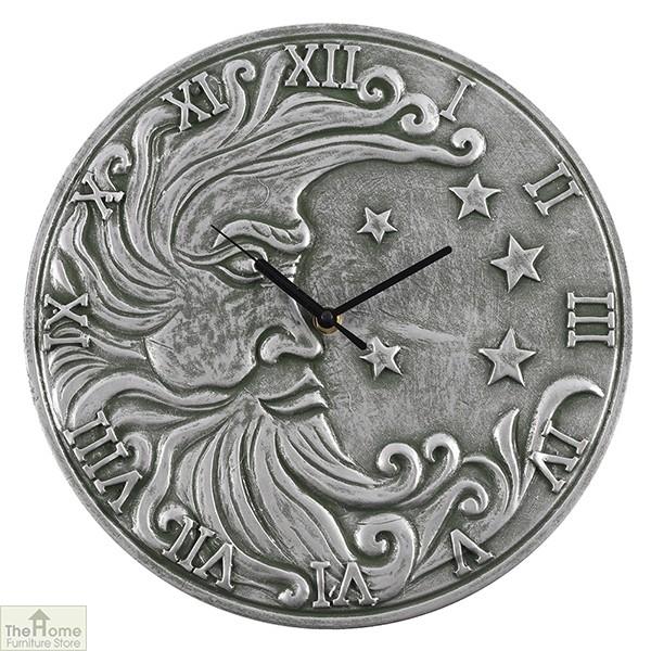 Silver Effect Terracotta Moon Clock