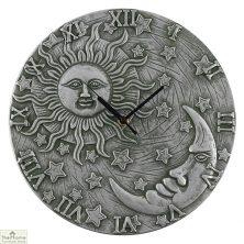 Silver Effect Sun Moon Clock