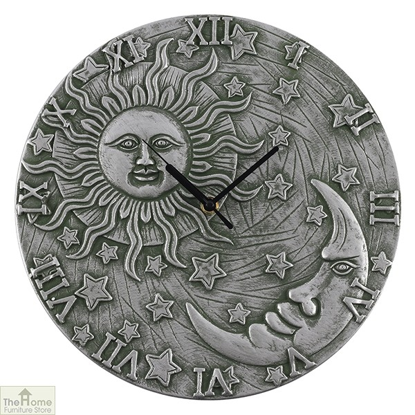 Silver Effect Sun Moon Clock