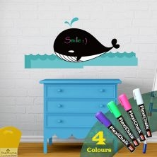Whale Chalkboard Wall Sticker with Chalk Markers