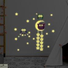 Owl Moon Stars Wall Sticker