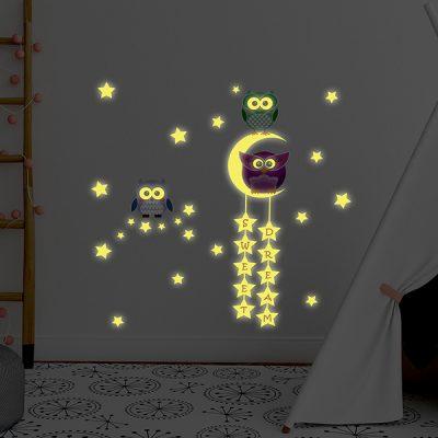 Owl Moon Stars Wall Sticker_1
