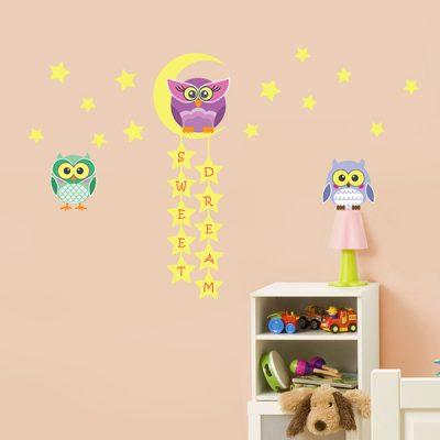 Owl Moon Stars Wall Sticker_2