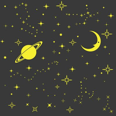 Glowing Moon Stars Wall Sticker_4