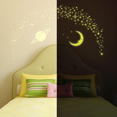 Glowing Moon Stars Wall Sticker_1