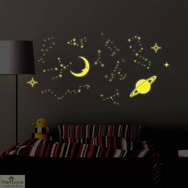 Glowing Moon Stars Wall Sticker