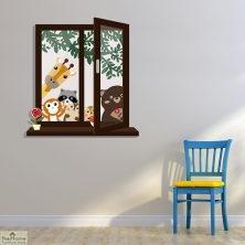 Animal Friends Window Wall Sticker