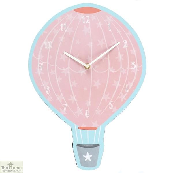 Pink Hot Air Balloon Wall Clock