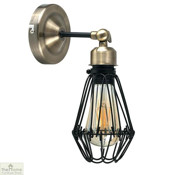 Brass Black Cage Wall Light