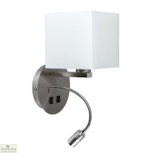 White Shade Reading Wall Light with USB Charging