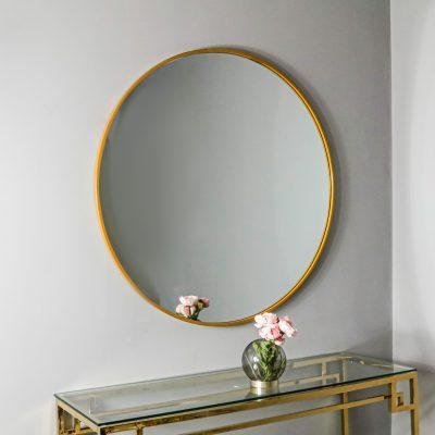 Manhattan Large Gold Round Mirror_1