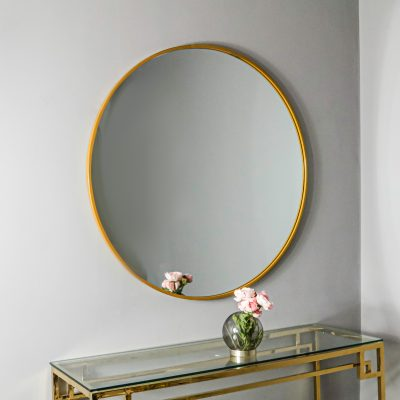 Manhattan Medium Gold Round Mirror_1