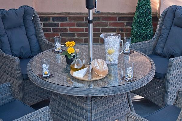 Corfu Woodash 110cm Round Dining Set